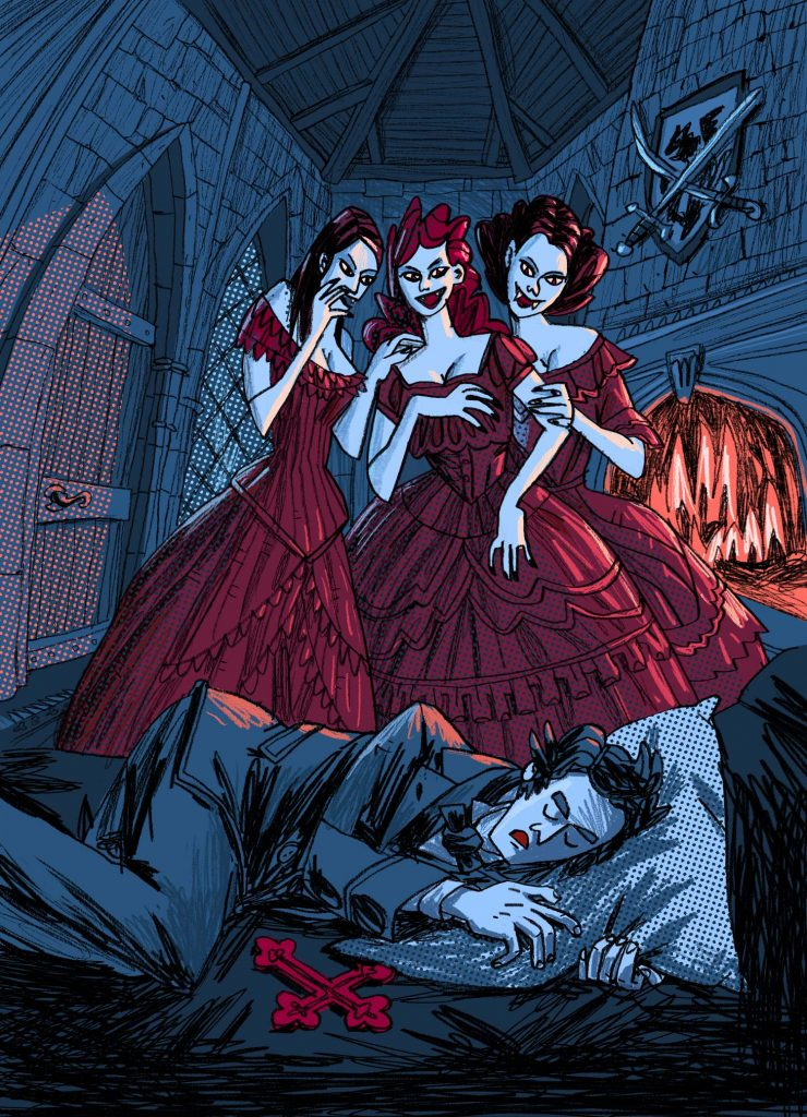 "This is an illustration for the novel ""Dracula"" written by Bram Stoker. There are three dangerous beauties. Internal page. Made by Dimitri Fogolin."