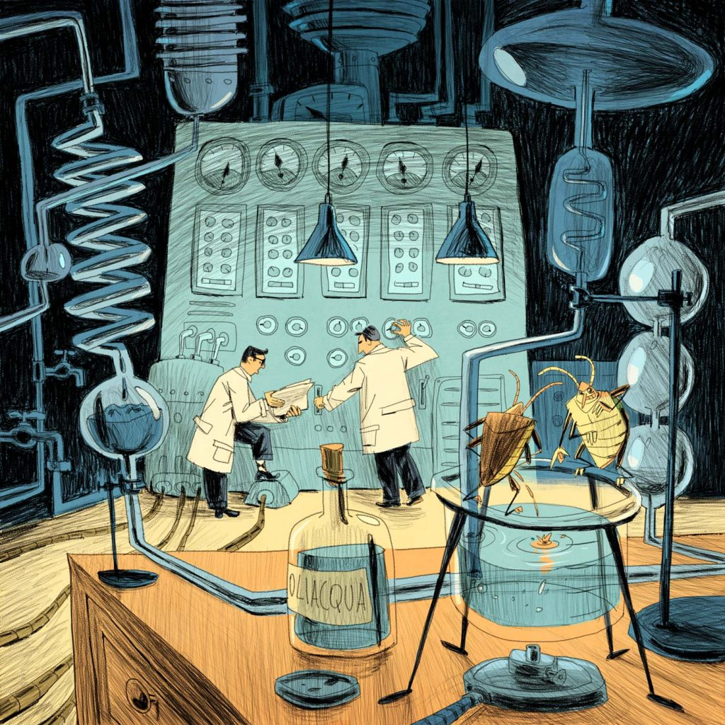 "This is a fanciful illustration made for scientific editorial purposes (especially magazines). There are two men standing in front of a very large machine. They are scientists and experts on chemistry. It's a rappresentation about the fake of the so-called ""poliwater"". The famous scientist tha made a mistake with this experiment was Fedjakin. Made by Dimitri Fogolin."