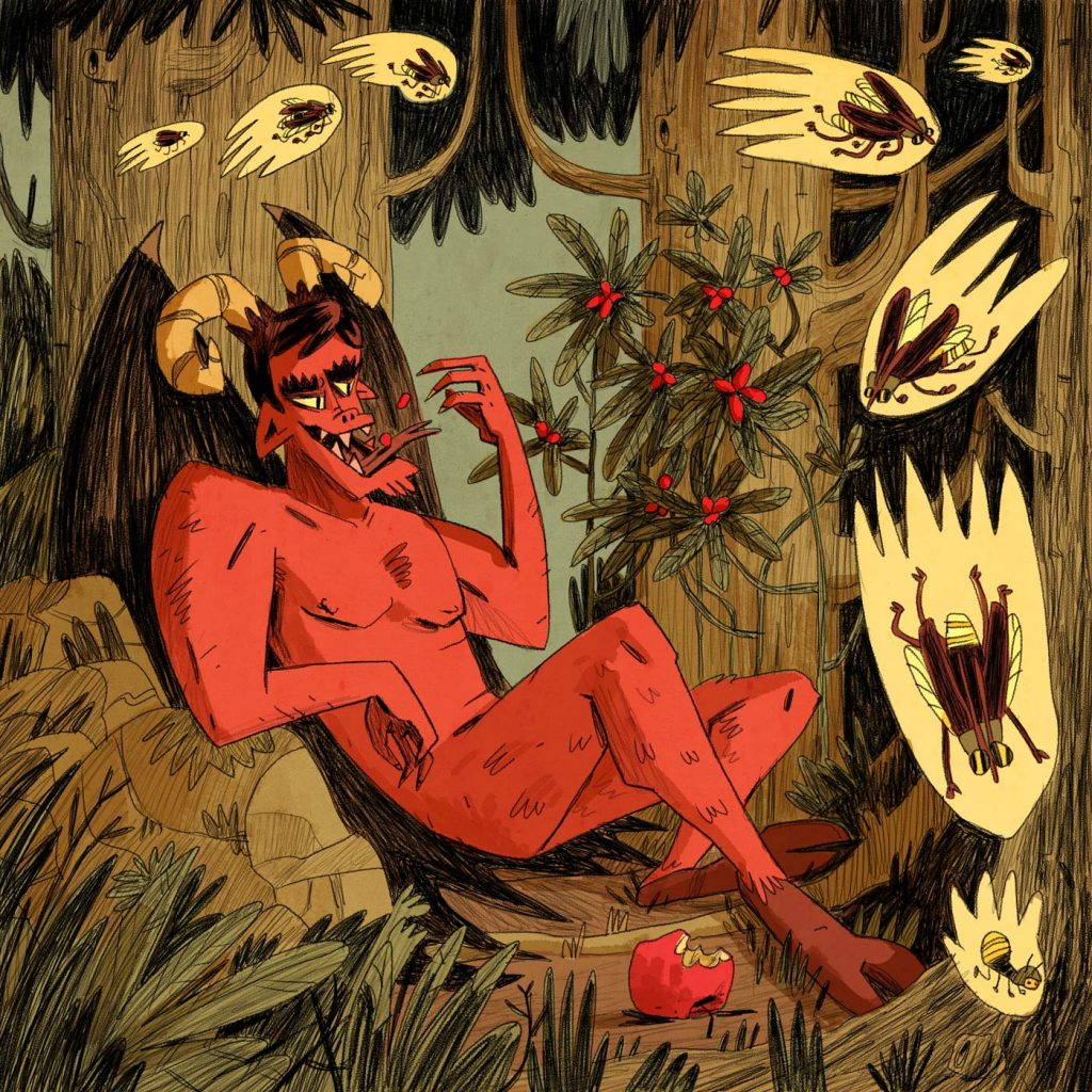 This is a fanciful illustration made for scientific editorial purposes (especially magazines). There's Satan eating Synsepalum dulcificum. All around him there are lot of fireflies or lightning bugs. Made by Dimitri Fogolin.