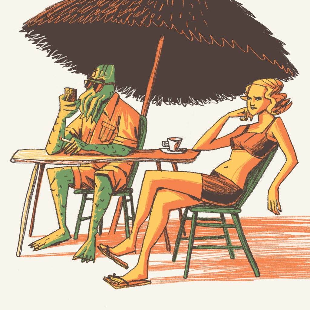 This is a fanciful illustration made for editorial purposes (especially magazines). There's Cthulhu and a girl on the beach. They are sitting and the girl is bored.