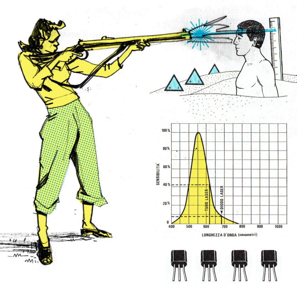 This is a bizarre illustration realized with a collage and a lineart drawing made for editorial purposes. There's a woman with his rifle that is shooting to a man or dummy in the sand. There are also diagrams and transistors.