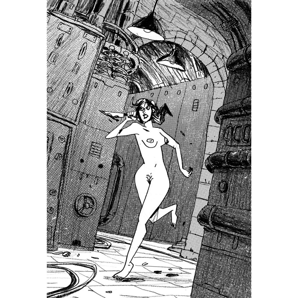 This an illustration with narrative purpose. A scared woman with a knife is running in a basement. There are computers or strange machinery.