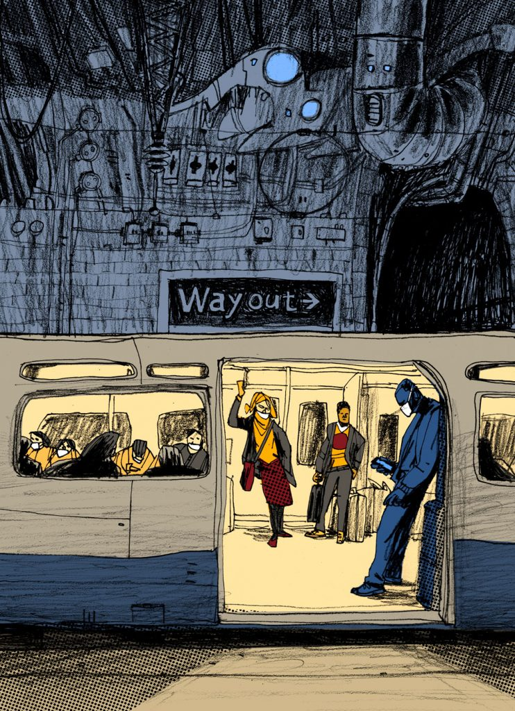 "Illustration inspired by the pandemic situation in Europe and by the song titled ""Way Out"" Spotting trains at home Shrinking world, dry lakes Storm is blowing dark Way out is hard Credits Writer(s): Ellen Fraatz, Sascha Ring Illustration by Dimitri Fogolin."