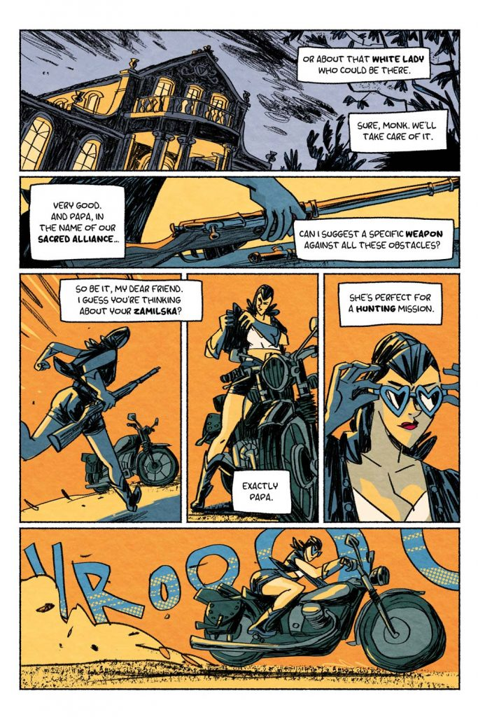 """Page from the comic book anthology entitled """"GRIMORIO III"""". The page is about the graphic novel entitled """"The last White Lady"""" by Dimitri Fogolin."""