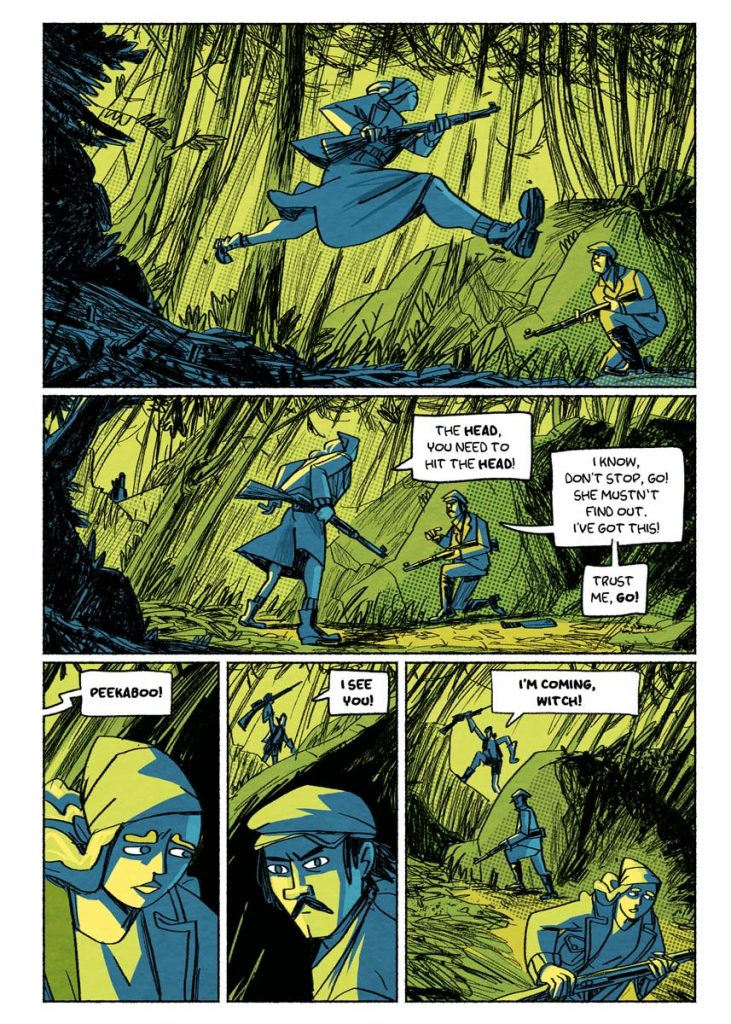 "Hunting scene. Page from the comic book anthology entitled ""GRIMORIO III"". The page is about the graphic novel entitled ""The last White Lady"" by Dimitri Fogolin."