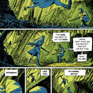 """Hunting scene. Page from the comic book anthology entitled """"GRIMORIO III"""". The page is about the graphic novel entitled """"The last White Lady"""" by Dimitri Fogolin."""