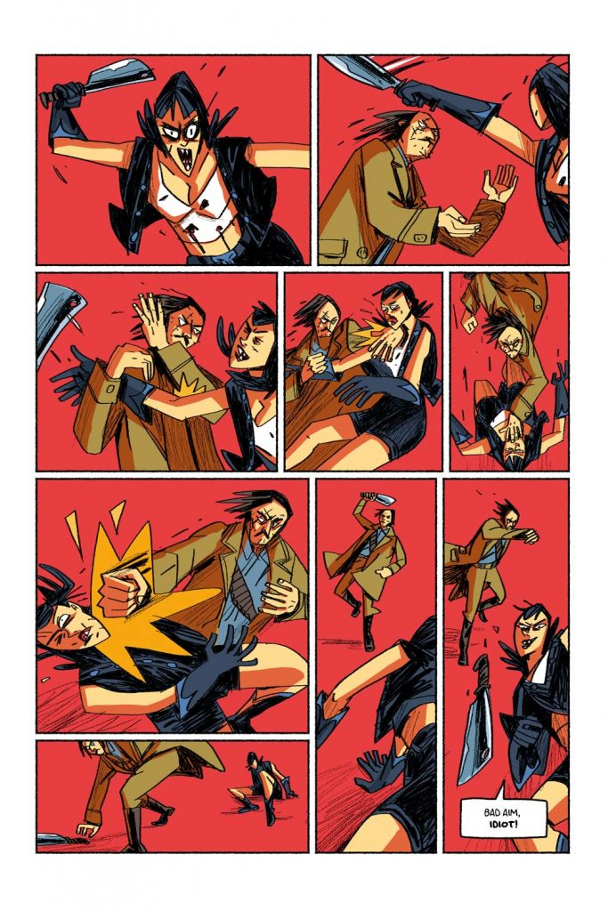 "Combat scene. Page from the comic book anthology entitled ""GRIMORIO III"". The page is about the graphic novel entitled ""The last White Lady"" by Dimitri Fogolin."