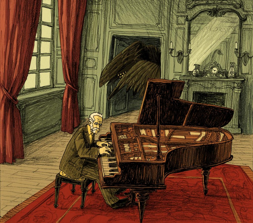 This is an eerie illustration made for editorial purposes. Tchaikovsky plays and on the background there's a deformed black swan. Made by Dimitri Fogolin.