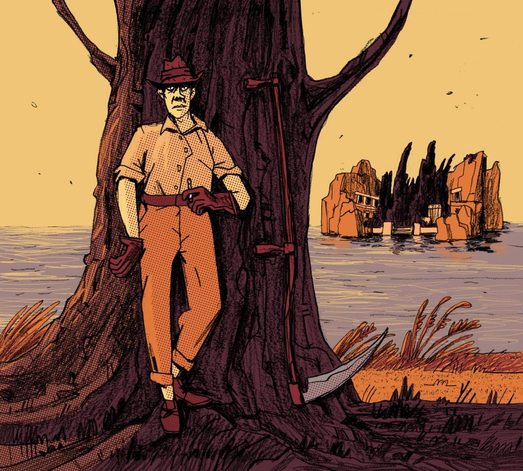 "This is a mysterious illustration made for editorial purposes. In the shadow, there's a man with a sickle standing and observing you. On the background there's an island called ""Isle of the Dead"". Made by Dimitri Fogolin."