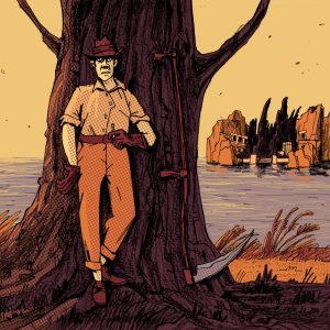 """This is a mysterious illustration made for editorial purposes. In the shadow, there's a man with a sickle standing and observing you. On the background there's an island called """"Isle of the Dead"""". Made by Dimitri Fogolin."""