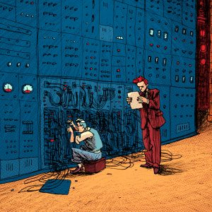 This is an illustration made for editorial purposes (especially magazines). There are two men standing in front of a very large computer maybe The Mighty Mainframe. Two scientists and experts on informatics with a hard-wired problem. Made by Dimitri Fogolin.