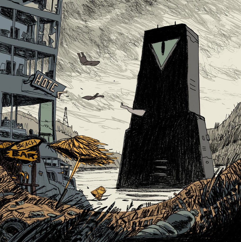 The Mighty Mainframe. This weird illustration is about a strange black thing appears in an abandoned beach. A mysterious technology system appears we don't know anything about it. Illustration by Dimitri Fogolin.