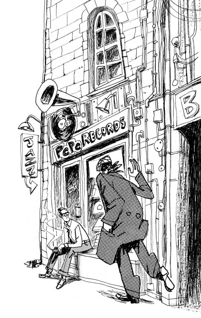 "This is an illustration for the short novel book entitled ""Fiction"". We see a records shop and two guys. They have a meeting. Illustration by Dimitri Fogolin."