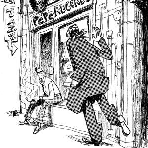 """This is an illustration for the short novel book entitled """"Fiction"""". We see a records shop and two guys. They have a meeting. Illustration by Dimitri Fogolin."""