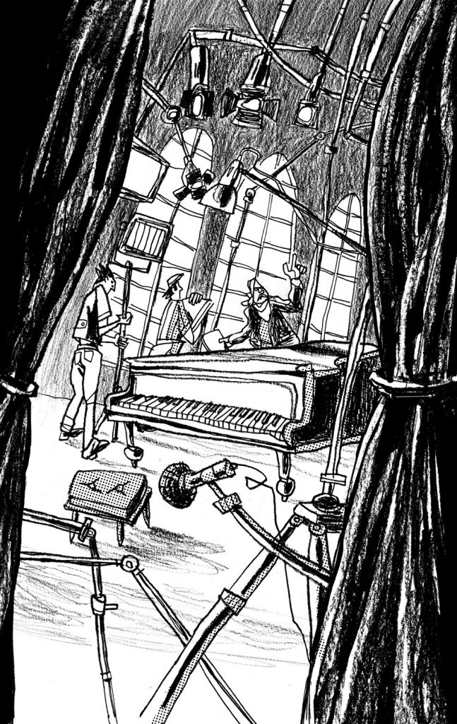 "This is an illustration for the short novel book entitled ""Fiction"". We see a filming set with a pianoforte and some people talking. There's also the Director that gives indications. Illustration by Dimitri Fogolin."