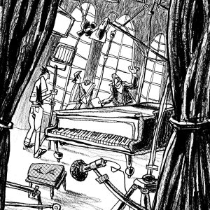 """This is an illustration for the short novel book entitled """"Fiction"""". We see a filming set with a pianoforte and some people talking. There's also the Director that gives indications. Illustration by Dimitri Fogolin."""