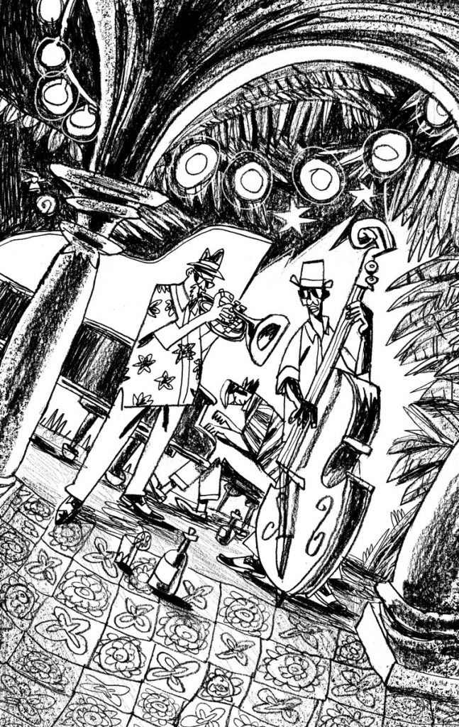 "This is an illustration for the short novel book entitled ""Fiction"". We see a jazz band playing. It's nighttime in Cuba. Illustration by Dimitri Fogolin."