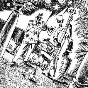 """This is an illustration for the short novel book entitled """"Fiction"""". We see a jazz band playing. It's nighttime in Cuba. Illustration by Dimitri Fogolin."""