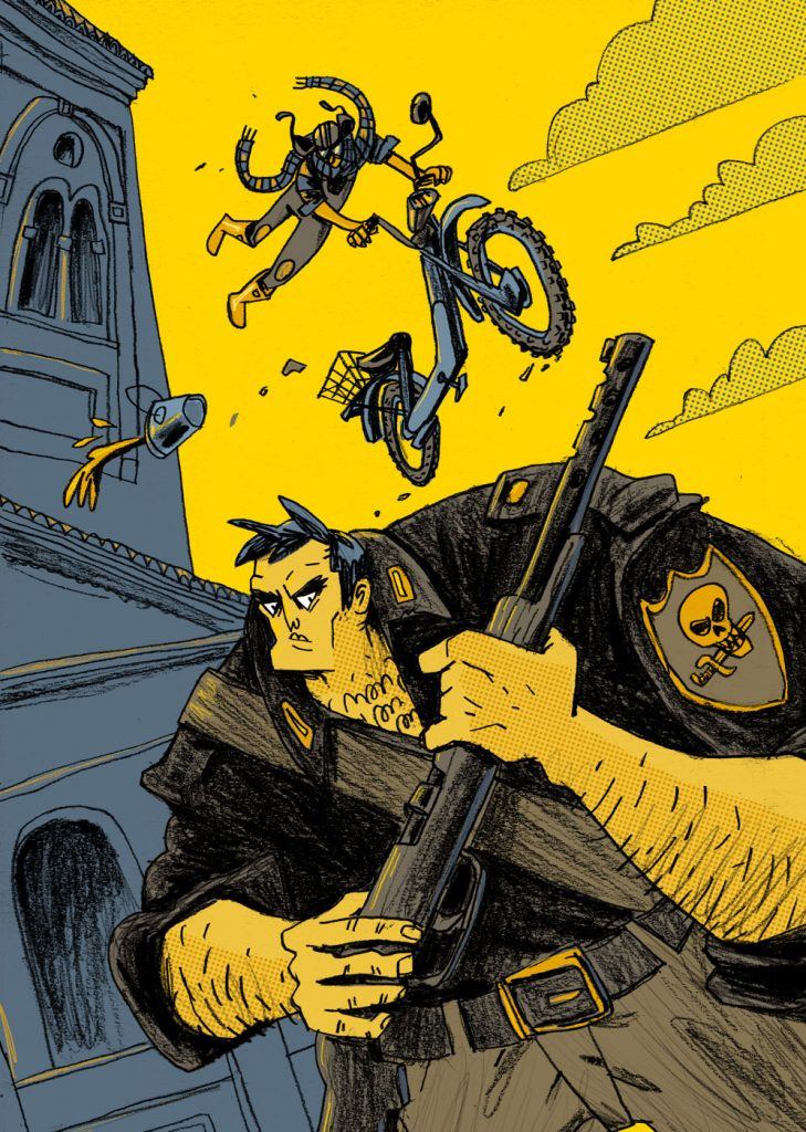 "This is a commissioned illustration for a book edited by Editions Tapirulan. The title of the book is: ""Sjette"" and the author the novel is Cristiano Cavina. There's a guy with his motorcycle tha's jumping over a big and bad man (a fascist). Made by Dimitri Fogolin."