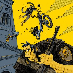"""This is a commissioned illustration for a book edited by Editions Tapirulan. The title of the book is: """"Sjette"""" and the author the novel is Cristiano Cavina. There's a guy with his motorcycle tha's jumping over a big and bad man (a fascist). Made by Dimitri Fogolin."""