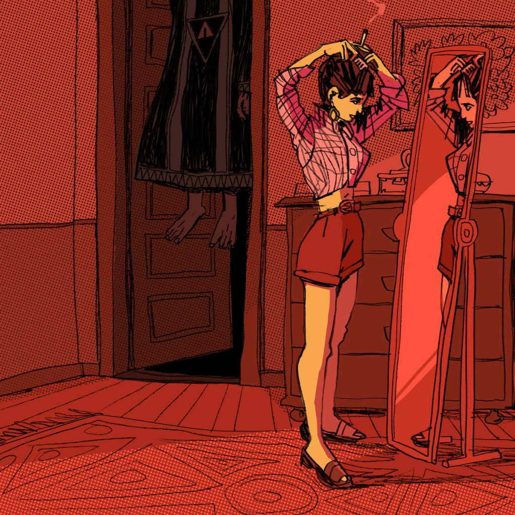 This is an eerie illustration with a girl smoking in his dark red room. She's in front of the mirror and there's a human levitating behind her. Illustration by Dimitri Fogolin.