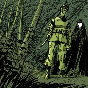 Illustration with an eerie atmosphere. It's night and dark in the woods. A Soldier is going to meet a monster. Illustration by Dimitri Fogolin.