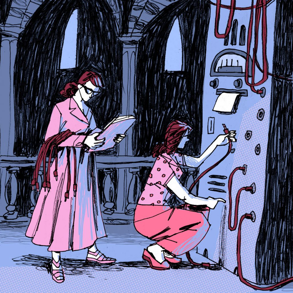 This is an illustration with narrative purpose. Two women searching to decrypt an unknown message in a church with a strange machinery.