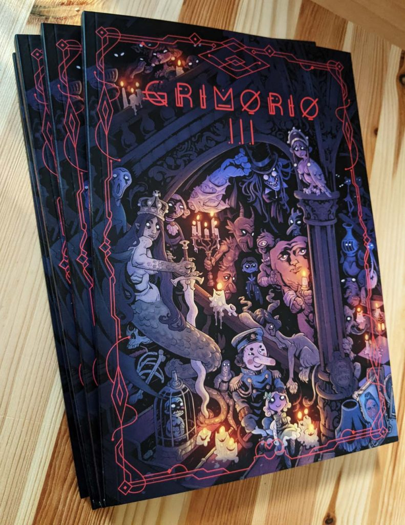 "Comic book front cover photo. It's an anthology with both comics and graphic novels. The book is entitled ""GRIMORIO III""."