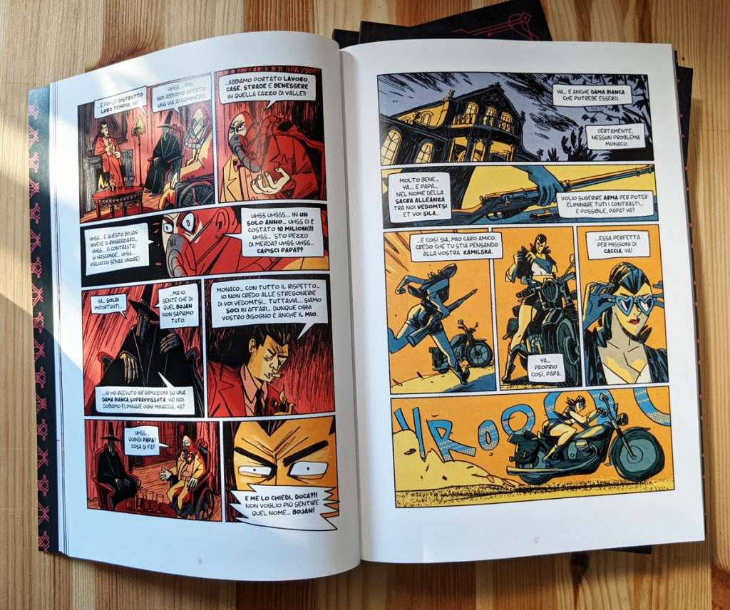 "Comic book inside page photo. A look inside the comic book anthology called ""GRIMORIO III"". Art and texts by Dimitri Fogolin."