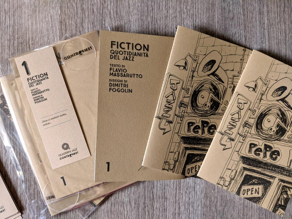 """Photography of the front and the back of the book """"Fiction"""" by Flavio Massarutto and edited by Controtempo."""